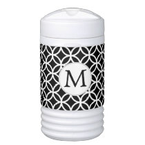 Black Personalized Monogram  Double Rings pattern Beverage Cooler