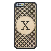 Black Personalized Monogram  Double Rings pattern Carved Maple iPhone 6 Bumper Case