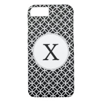 Black Personalized Monogram  Double Rings pattern iPhone 7 Case