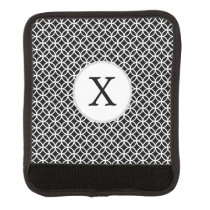 Black Personalized Monogram  Double Rings pattern Luggage Handle Wrap
