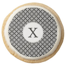 Black Personalized Monogram  Double Rings pattern Round Shortbread Cookie