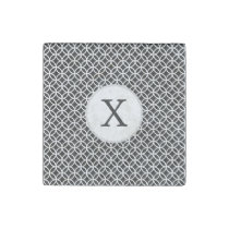 Black Personalized Monogram  Double Rings pattern Stone Magnet