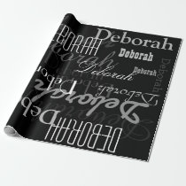 black personalized name pattern, a modern wrapping paper