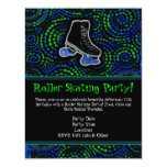 """Black Personalized Roller Skating Party Invitation 4.25"""" X 5.5"""" Invitation Card"""