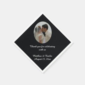 Black Personalized Wedding Photo Napkins