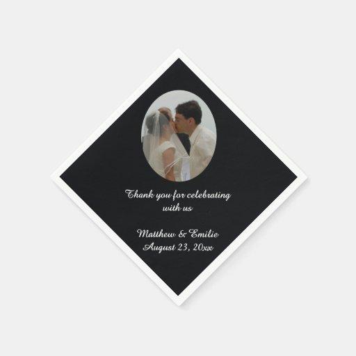 Unique Wedding Gift Experiences : Black Personalized Wedding Photo Napkins Zazzle