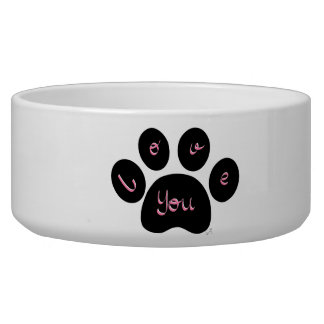 """""""Black Pet Paw Print with Love You"""" Bowl"""