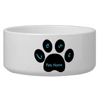 """""""Black Pet Paw Print with Love You""""- Customizable Bowl"""
