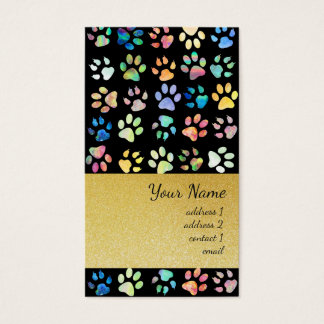 black pet paw prints pattern and gold glitter business card