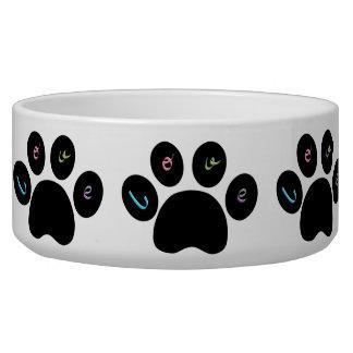 """Black Pet Paw Prints with Love You""- Customizable Bowl"