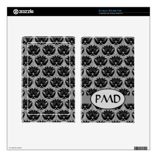 Black Pewter and Gray Art Nouveau Damask Monogram Decals For Kindle Fire