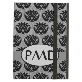 Black Pewter and Gray Art Nouveau Damask Monogram iPad Air Cover