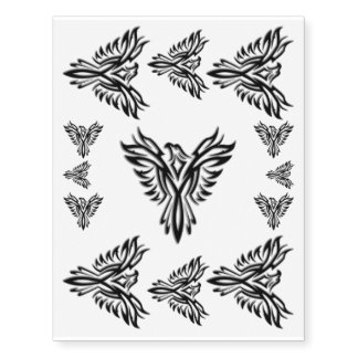 Black Phoenix Rising Temporary Tattoos