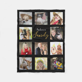 Black Photo Blanket Collage Instagram Gold