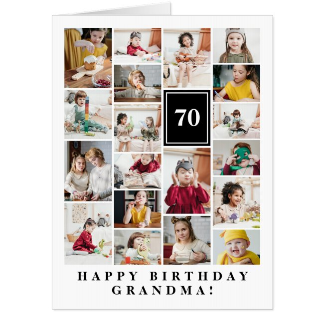 Black Photo Collage Happy Birthday Grandma Big Card