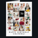 "Black Photo Collage Happy Birthday Grandma Big Card<br><div class=""desc"">Wish grandma a happy birthday with this jumbo photo collage birthday card to which you can add 19 photos of the grand kids,  and grandmas age in big white letters against a black background.</div>"