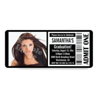 Black Photo Graduation Party Ticket Invitations