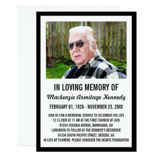 Black Photo Memorial Service or Funeral Invite