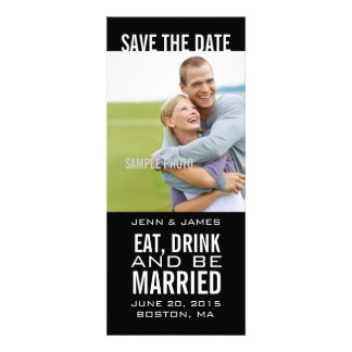 Black Photo Save the Date EAT DRINK BE MARRIED Personalized Invites