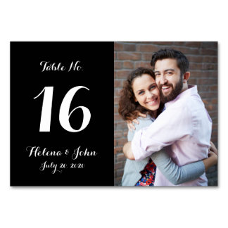 Black Photo Wedding Table Number Card Table Cards