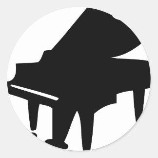 black piano classic round sticker