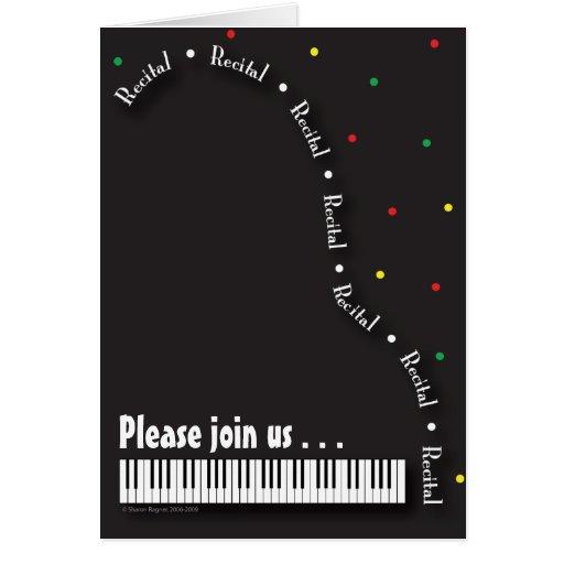 black piano recital invitation card
