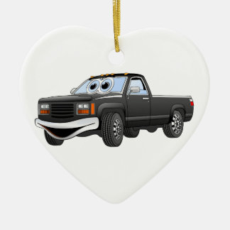 Black Pick Up Truck Cartoon Double-Sided Heart Ceramic Christmas Ornament