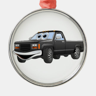 Black Pick Up Truck Cartoon Round Metal Christmas Ornament