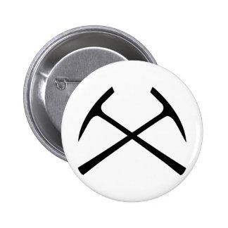 black pickax crossed 2 inch round button