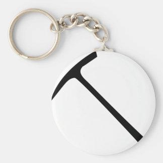 black pickax icon basic round button keychain