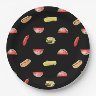 Black Picnic Veggies and Burgers Tablecloth Paper Plate