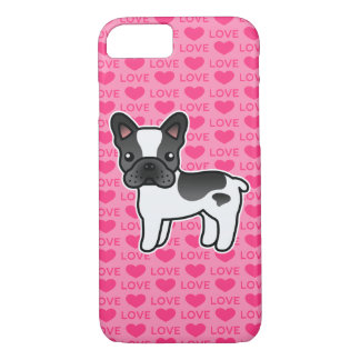 Black Piebald Cartoon French Bulldog Love iPhone 8/7 Case
