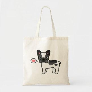 Black Piebald Cartoon French Bulldog Love Tote Bag