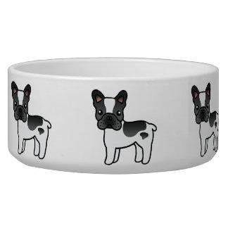 Black Piebald Cartoon French Bulldog Pet Water Bowl