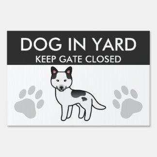 Black Piebald Cartoon Siberian Husky Dog Lawn Sign