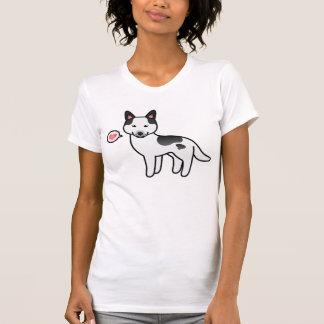 Black Piebald Cartoon Siberian Husky Love T-Shirt