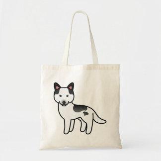 Black Piebald Cartoon Siberian Husky Tote Bag