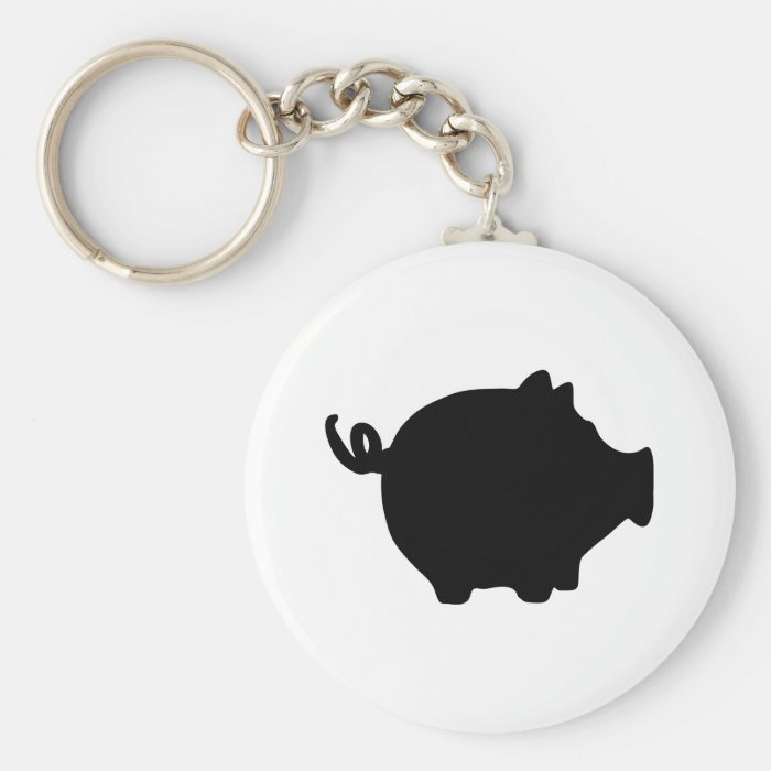 black piggy bank icon keychain