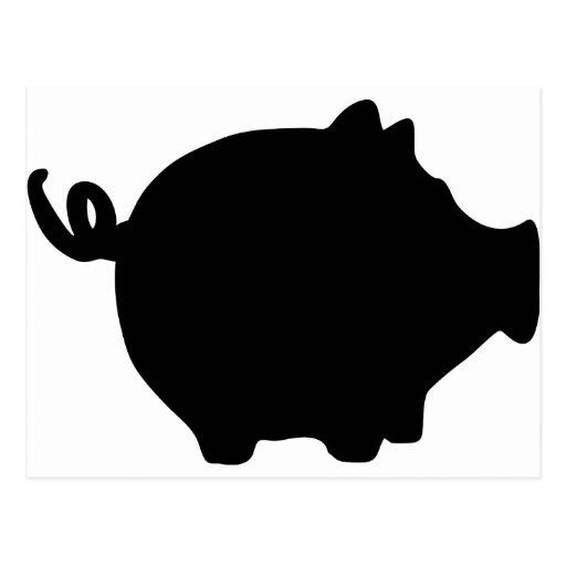 black piggy bank icon postcard