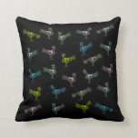 Black pillow with pastel stylized roosters