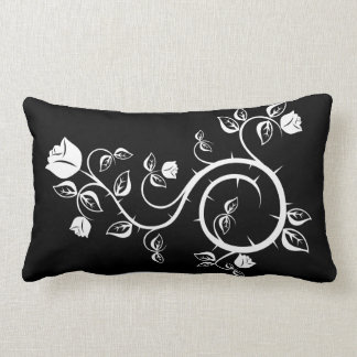 Black Pillow with White Rose Design