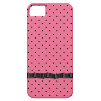 Black pin dots with ribbon iPhone 5 cases