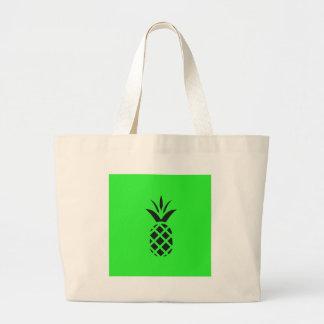 Black pine apple in Green Large Tote Bag