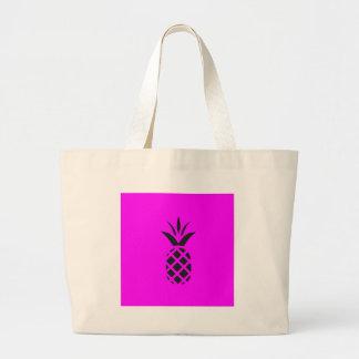 Black pine apple in Purple Large Tote Bag