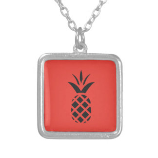 Black Pine Apple in Red Silver Plated Necklace