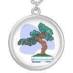 Black Pine Bonsai Graphic Image Necklace