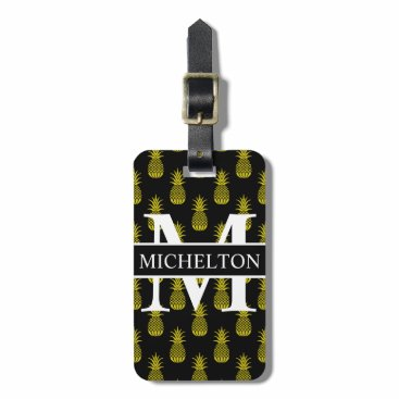 Beach Themed Black Pineapple Personalized Bag Tag