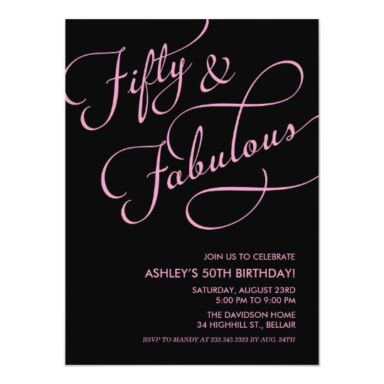 black pink 50 and fabulous birthday invitations zazzle com
