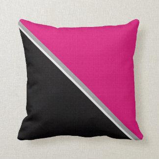 Black Pink Acrylic Burlap Block Painting Throw Pillow