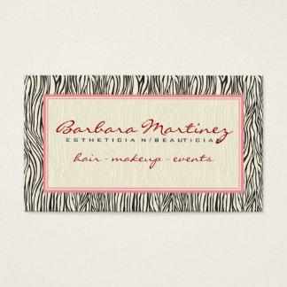 Black Pink And Beige Animal Print Zebra Pattern Business Card